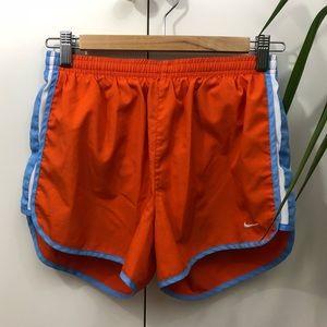 Nike orange and light blue athletic shorts S